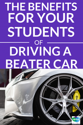There are a number of benefits to driving a super beat up car. Help your students see why they may feel more comfortable driving an old car.